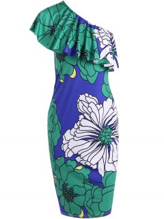 One Shoulder Floral Bodycon Prom Dress - S