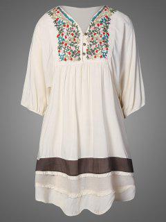 Embroidered Bib Tunic Dress - Apricot