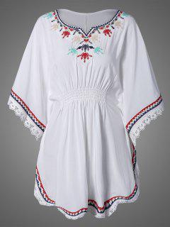 Chemise à Style Kaftan Brodée En Dentelle  - Blanc