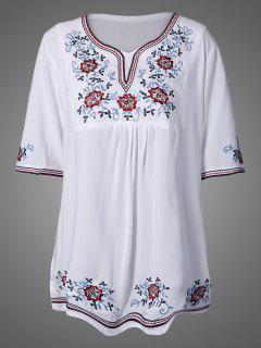 Vestido Tunica Manga Bordado Malla - Blanco