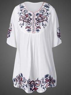 Mini Vestido Suelto Bordado - Blanco