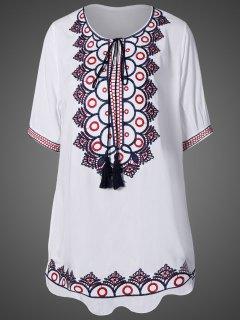 Robe Mini Encolure Dégagée Avec Broderie - Blanc