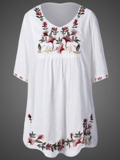 Embroidered Bib Maternity Dress - White