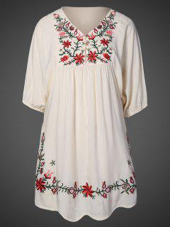 Floral Embroidered Bib Tunic Dress - Apricot