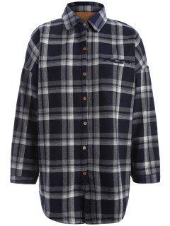 Plus Size Plaid Fleece Lined Shirt - Black Xl
