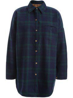 Plus Size Plaid Fleece Lined Shirt - Green 2xl