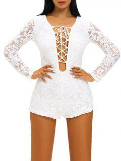 Lace Up See Thru Romper - Blanc L