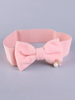 Faux Pearl Bowknot Stretch Belt - Shallow Pink