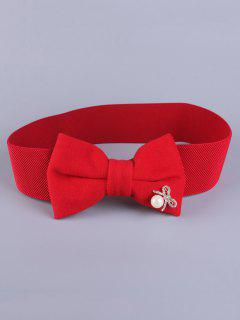 Faux Pearl Bowknot Stretch Belt - Red