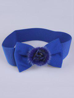 Faux Fur Bowknot Stretch Belt - Royal Blue