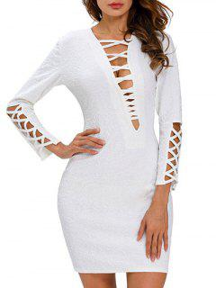 Plunge Neck Bodycon Robe à Bretelles - Blanc S