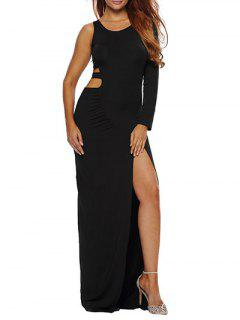 High Slit Cut Out Bodycon Maxi Dress - Black S
