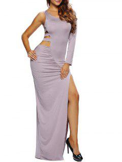 High Slit Cut Out Bodycon Maxi Dress - Taupe S