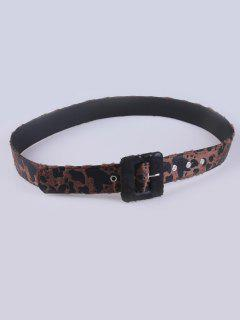 Faux Leather Leopard Pin Buckle Belt - Maroon