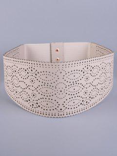 Openwork Round Stretch Belt - Off-white