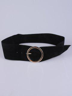 Hollow Ring Velvet Belt - Black