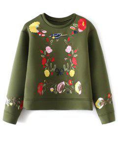 Long Sleeve Flower Embroidered Sweatshirt - Green S