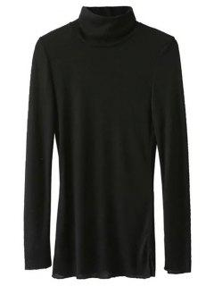 High Neck Long Sleeve Basic Tee - Black S