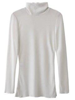 High Neck Long Sleeve Basic Tee - White L
