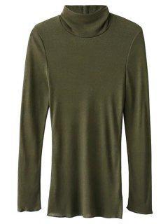 High Neck Long Sleeve Basic Tee - Army Green S