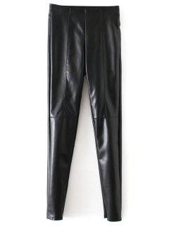 Skinny PU Leather Narrow Feet Pants - Black S