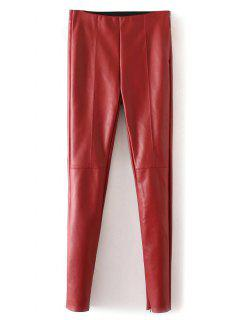 Skinny PU Leather Narrow Feet Pants - Red S
