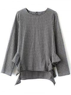Long Sleeve Frilled Gingham Blouse - White And Black S