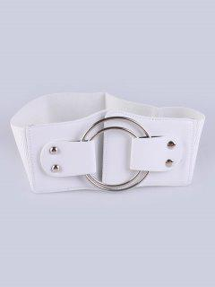 Faux Leather Double Circle Stretch Belt - White