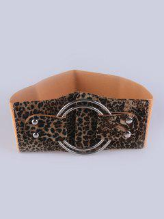 Faux Leather Double Circle Stretch Belt - Leopard