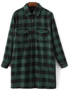 Long Sleeve Checked Boyfriend Shirt - Green L
