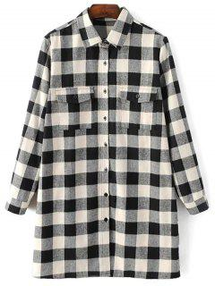 Long Sleeve Checked Boyfriend Shirt - White And Black L