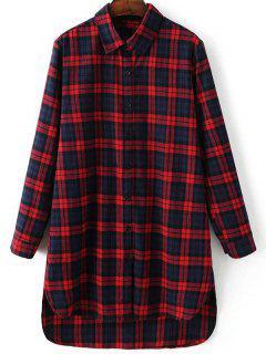 Robe Chemise à Carreaux Style Boyfriend - Rouge S