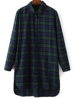 Robe Chemise à Carreaux Style Boyfriend - Vert S