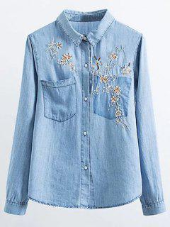 Floral Bird Embroidered Denim Shirt - Light Blue S