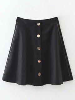 Winter Button Up A Line Skirt - Black S