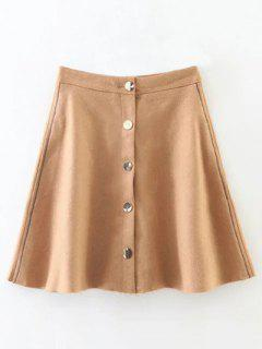 Winter Button Up A Line Skirt - Camel L