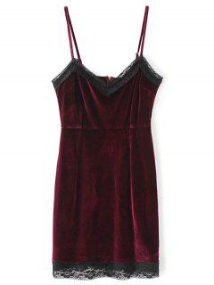 Lace Panel Pleuche Mini Cami Dress - Burgundy M