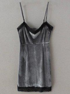 Lace Panel Pleuche Mini Cami Dress - Gray M