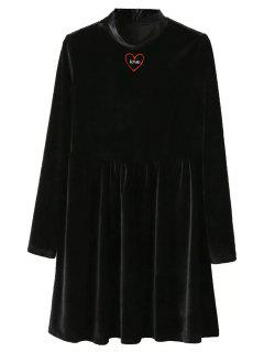 Mock Neck Velvet Flare Dress - Black M