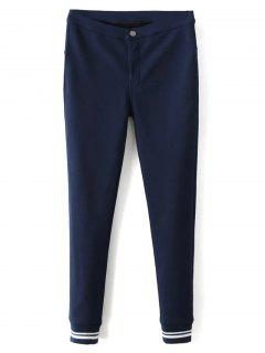 Fleece Lined Slim Pants - Deep Blue M