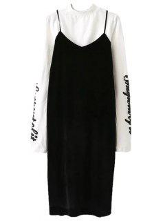 Pleuche Slip Dress With Letter Tee - White And Black M