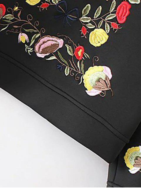 sale Long Sleeve Flower Embroidered Sweatshirt - BLACK L Mobile
