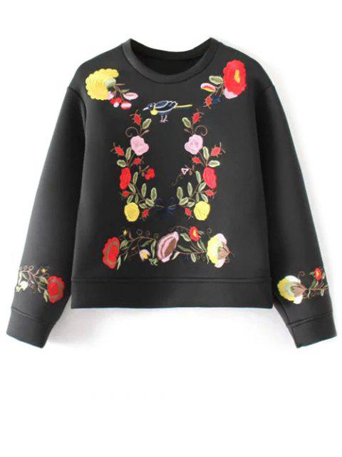 affordable Long Sleeve Flower Embroidered Sweatshirt - BLACK M Mobile