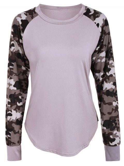 T-Shirt mit Raglan-Hülsen und Camo Einsatz - Helles Khaki M Mobile