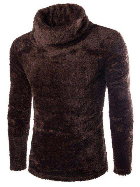 women's Fuzzy Turtleneck Fleece Sweater - COFFEE L Mobile