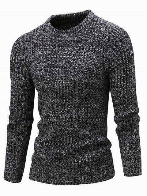 sale Slim Fit Crew Neck Ribbed Knitted Sweater - BLACK L Mobile