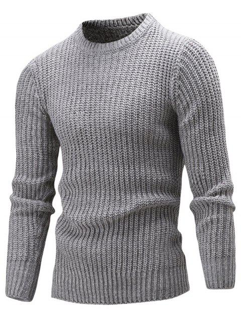 online Slim Fit Crew Neck Ribbed Knitted Sweater - GRAY L Mobile