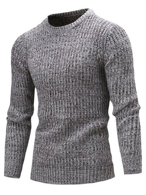 shops Slim Fit Crew Neck Ribbed Knitted Sweater - DEEP GRAY 2XL Mobile