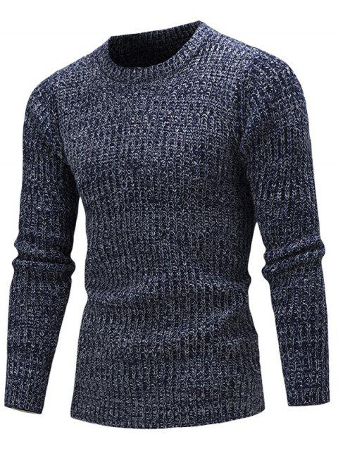 best Slim Fit Crew Neck Ribbed Knitted Sweater - CADETBLUE XL Mobile