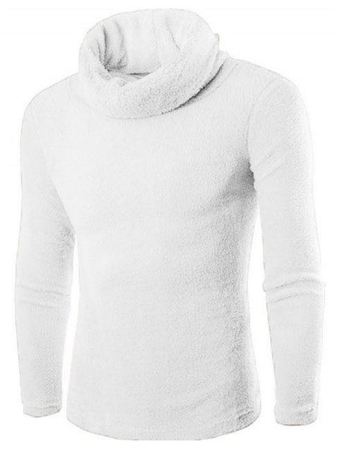 Rollkragen Langarm Fleece Pullover - Weiß L Mobile